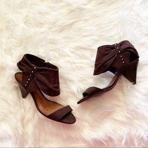 SCHUTZ leather brown suede cone heel sandals